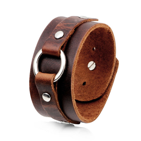 Leather Adjustable Ring Trim Wide Cuff Bracelet