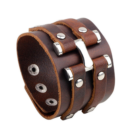 Leather Adjustable Wide Metal Detail Cuff Bracelet