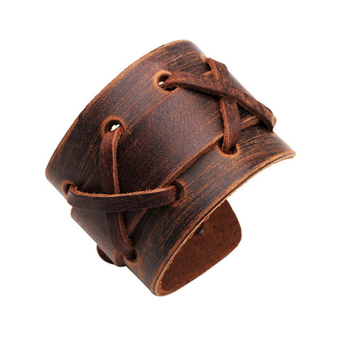 Leather Antique Distressed Cross Stitch Detail Wide Cuff Bracelet