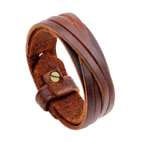 Leather Adjustable Cuff Bracelet