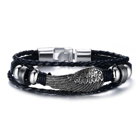 Cool Unisex Black Leather Wrap Wing Bracelet