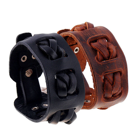 Leather Wrap Vintage Braided Cuff Bangle Bracelet
