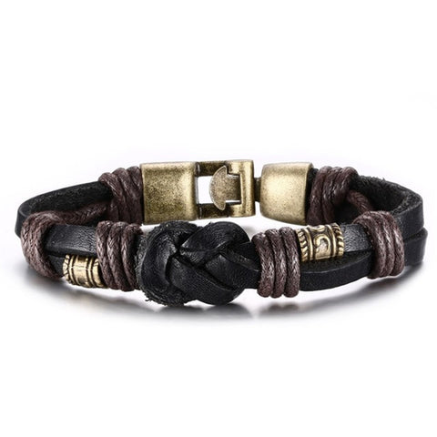 Vintage Bronze Buckle Leather Bracelet
