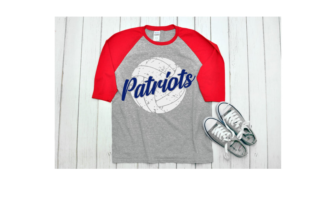 Patriots with Distressed Volleyball Raglan