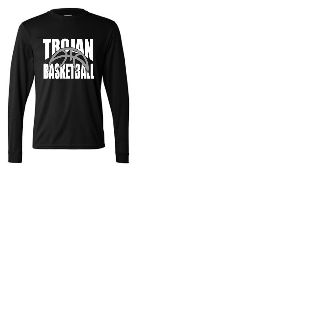Trojan Basketball on Performance Long Sleeve