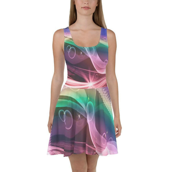All-Over Print Skater Dress - itpstyle