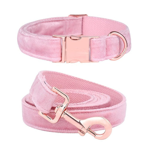 Baby Pink Velvet Collar & Leash Set - PuppyCentury