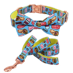 Foodie Printed Collar, Leash & Bow Tie Set - PuppyCentury