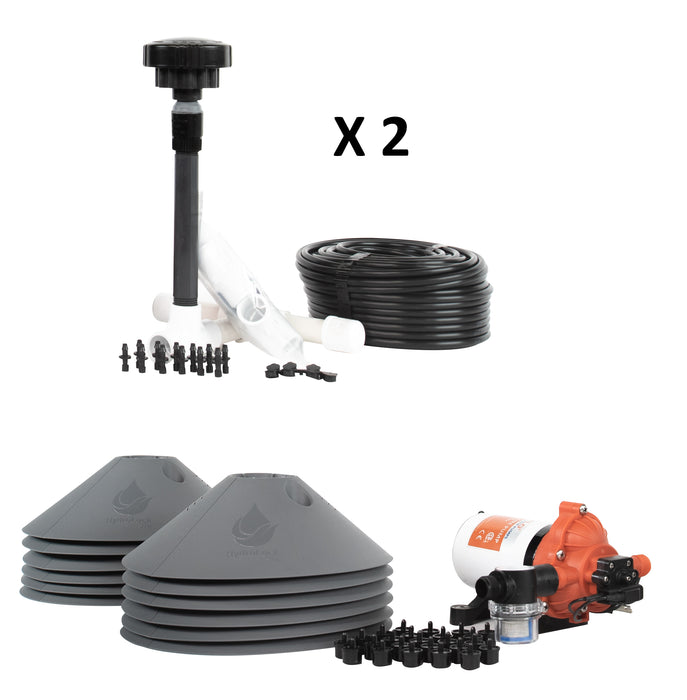 12-Plant Grow Kit - Drip Irrigation Emitters, Pump, Hydrolock Caps, Fittings, Manifold, Tubing