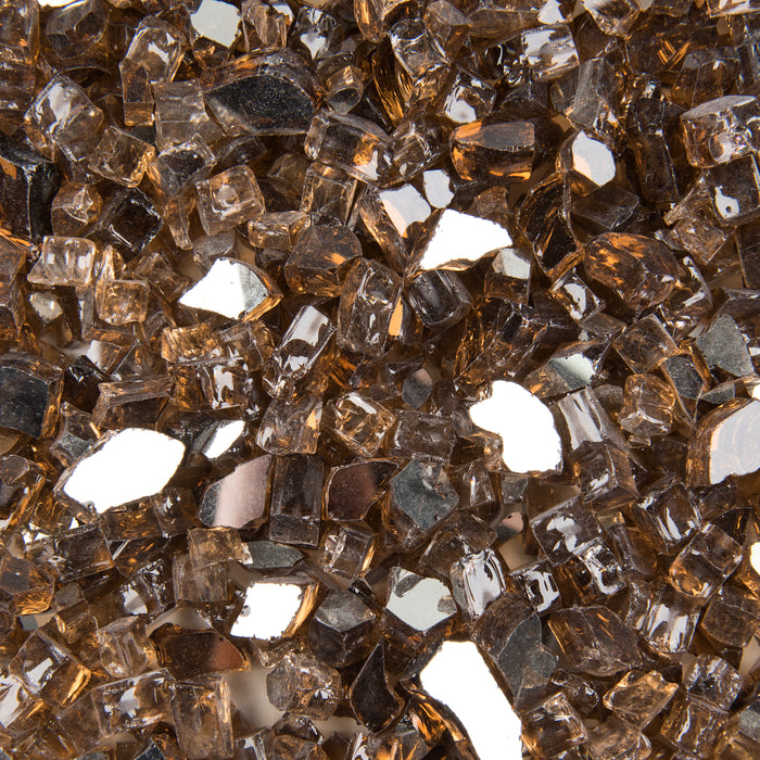 "Vibrant Luster 1/2"" Medium, Copper Amber by the Pound - Tempered Reflective Fire Glass Rock for Fireplace and Fire Pit"