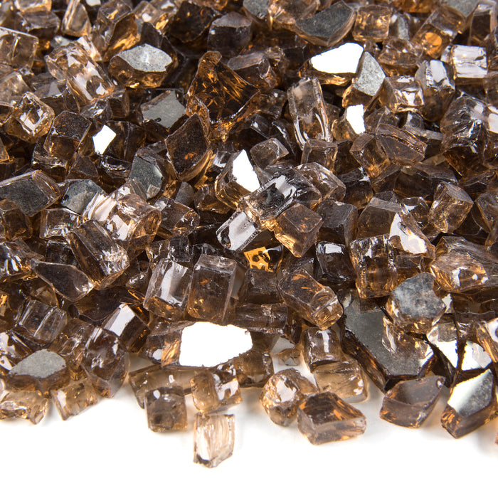 "10lbs 1/2"" Medium, Copper Amber - Tempered Reflective Fire Glass Rock for Fireplace & Fire Pit"