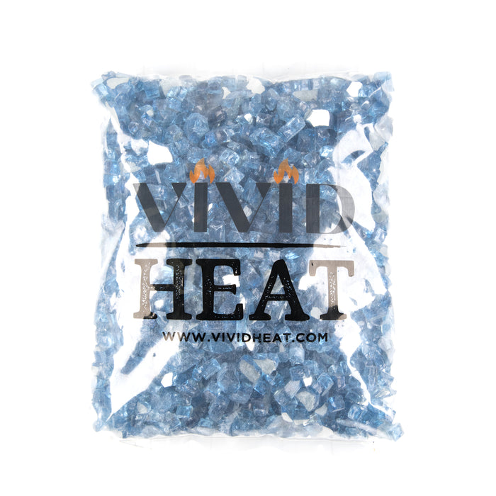 "10lbs 1/2"" Pacific Ocean Blue - Tempered Reflective Fire Glass Rock for Fireplace & Fire Pit"