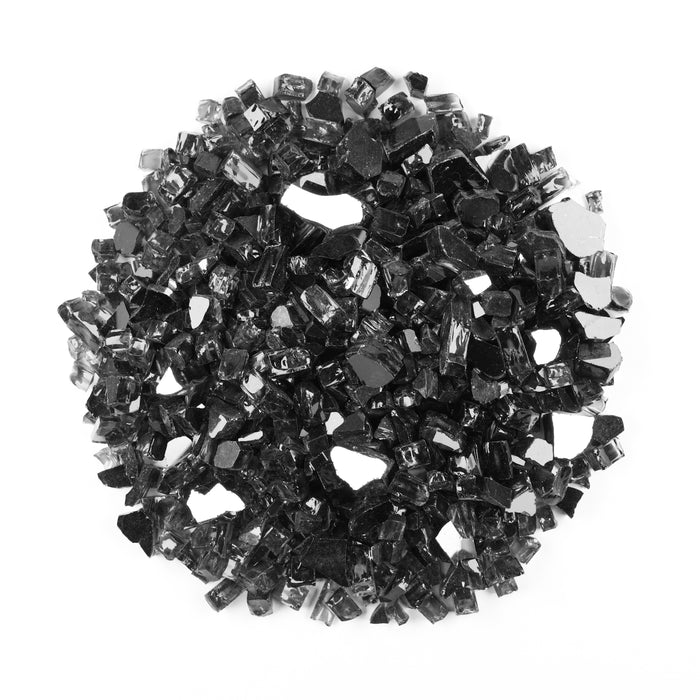 "Vibrant Luster 1/2"" Medium, Onyx Black by the Pound - Tempered Reflective Fire Glass Rock for Fireplace and Fire Pit"