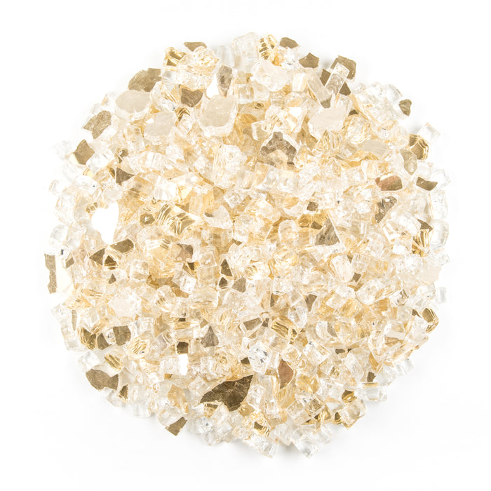 "10lbs 1/2"" Royal Gold - Tempered Reflective Fire Glass Rock for Fireplace & Fire Pit"
