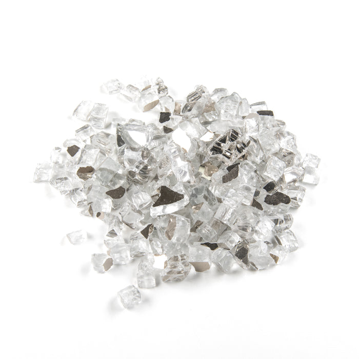 "Vibrant Luster 1/2"" Medium, Metallic Silver by the Pound - Tempered Reflective Fire Glass Rock for Fireplace and Fire Pit"