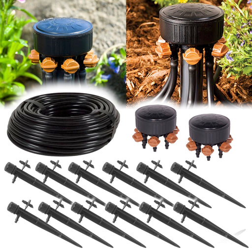 12 Plant Drip Irrigation Home Grow Kit - With 100ft 1/4 Inch Tubing, Emitters & Adjustable Manifold 0-20 GPH