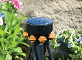 "6-Plant Adjustable Drip Irrigation & Hydroponics Bubbler Manifold on 1/2"" FNPT - 06-620"