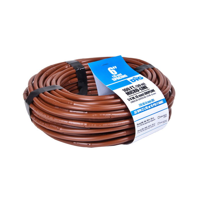 "DIG 6"" Spacing Micro-Line Soaker Hose Series .52gph Brown Poly Dripline / Hydroponics Grower Irrigation Tubing 100'-3000ft' DIG - ML-3006B - ML-1006B - ML-506B - ML-106B"