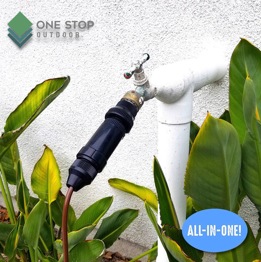 "Drip Irrigation Faucet Adapter Connector Kit: Connect 1/4 Inch Tubing to 3/4"" Inch Faucet/Garden Hose"