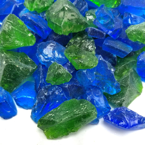 "10lbs ""Fire Water Blend"" Blue & Green 1/2"" - 3/4""  - Tempered Fire Glass"