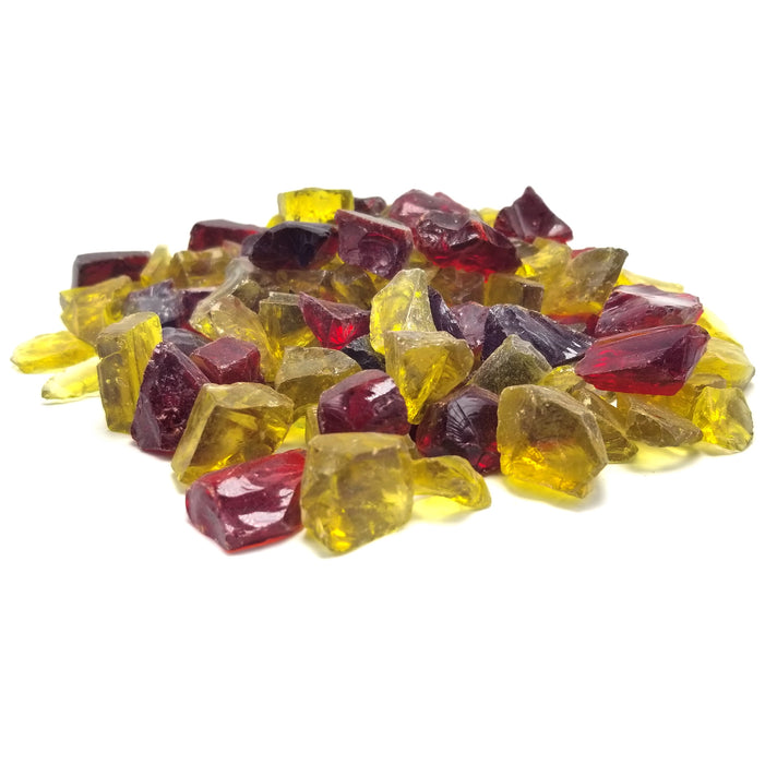 "10lbs 1/2"" Red, Yellow Blend Premium Pre-Mixed Fire Glass"