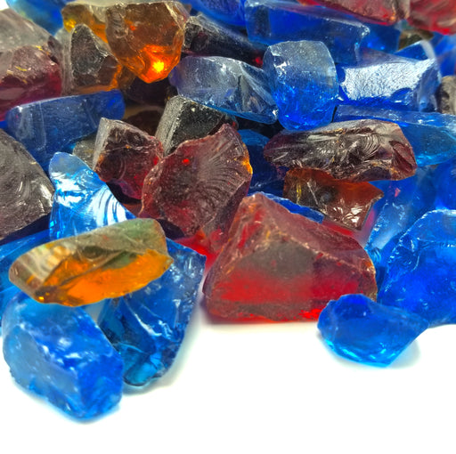 "10lbs ""Hawaiian Blend"" Blue, Red & Amber 1/2"" - 3/4""  - Tempered Fire Glass"