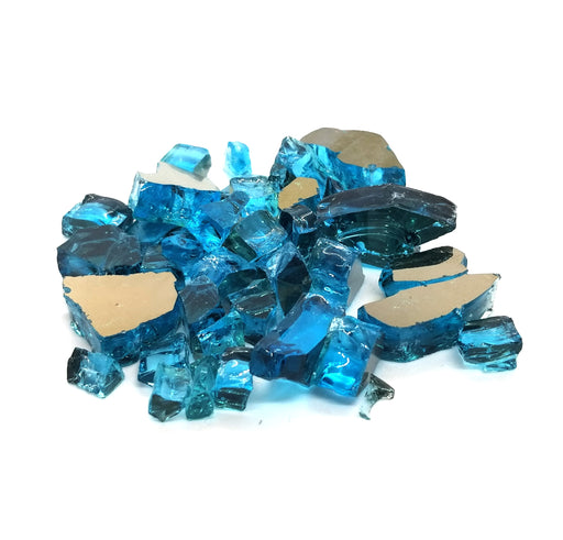 "1/2"" Tropical Azuria Blue Reflective Fire Glass (10lbs)"