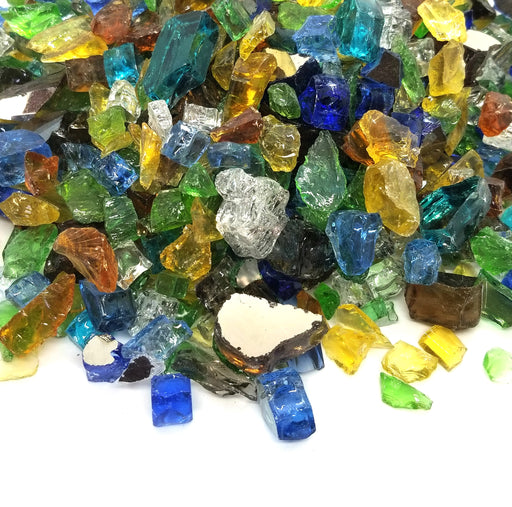 "1/2"" ""Sea Glass Blend"" Amber, Blue, Green, Gold & More Reflective Fire Glass (10lbs)"