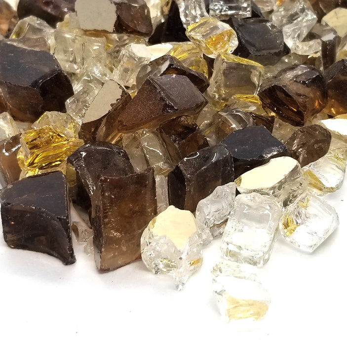 "1/2"" Gold & Amber Blend Pre-Mixed Reflective Fire Glass (10lbs)"