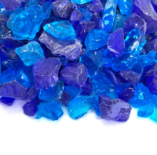 "10lbs ""Eastern Sea"" Blue Blend 1/2"" - 3/4"" Large - Tempered Fire Glass"
