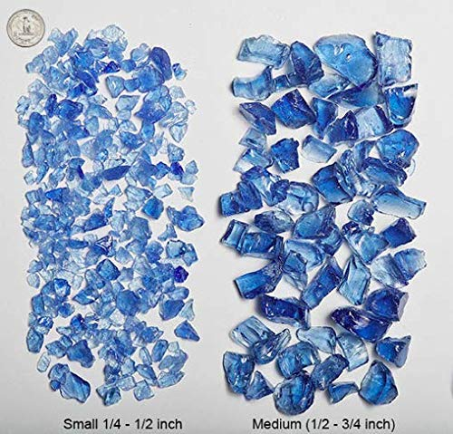"VIVID Heat - Vibrant Luster ""Ocean Blue"" 1/4"" Rough Crushed Style, (Price by the Pound) - Tempered Fire Glass Rock for Fireplace and Fire Pit"