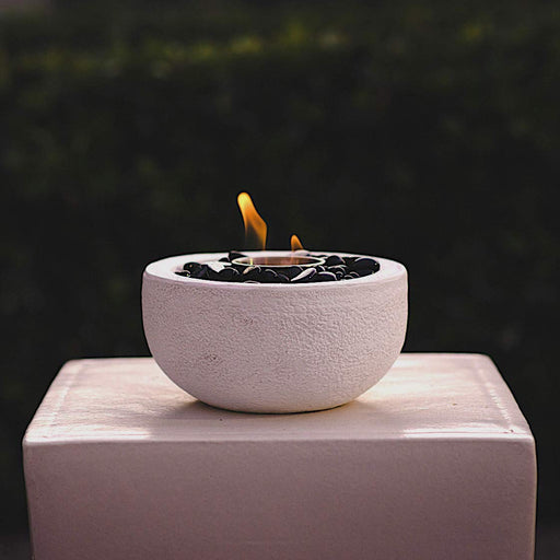 Round Modern Table Top Cement Fire Bowl - White