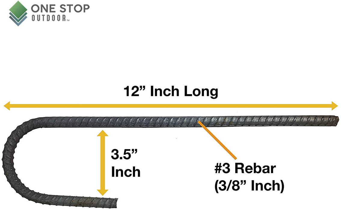 USA Made - #3 Rebar Stakes J Hook Heavy Duty Steel Ground Anchors 12 inch