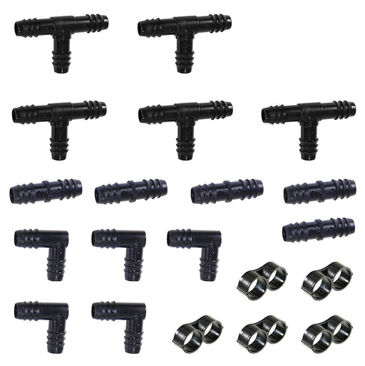 "(20 Piece) 1/2"" Barb Insert Drip Fittings Kit Tee, Coupling, Elbow & Ends (Black) 16 mm"