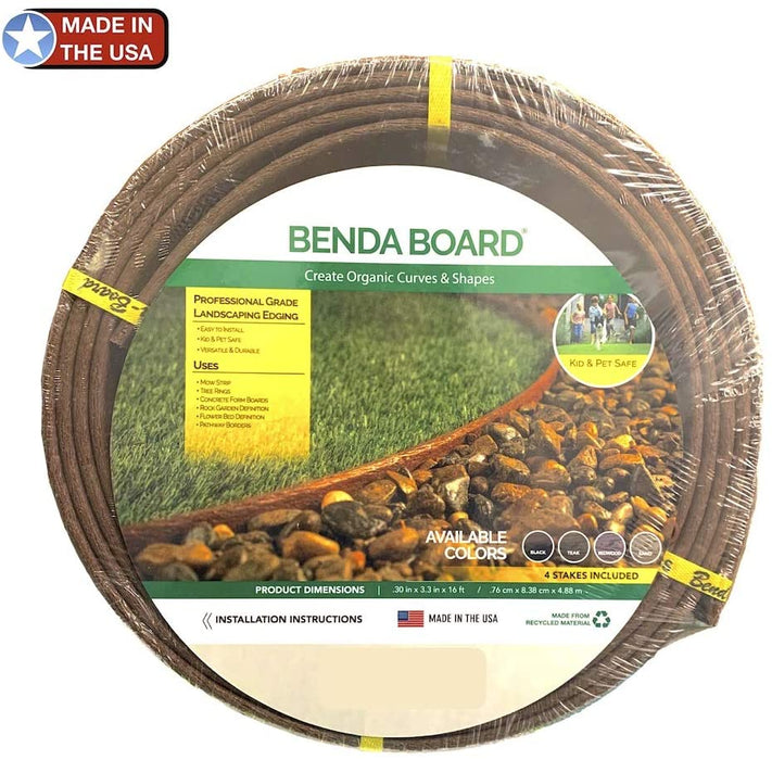 "Landscape & Garden Thick Bender Board Edging Kit 3.3"" x 16'ft Brown"