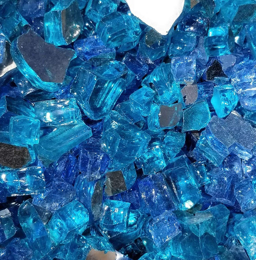 "Vibrant Luster 1/2"" Medium Caribbean Blue Blend (by the Pound) - Tempered Reflective Fire Glass Rock for Fireplace and Fire Pit"