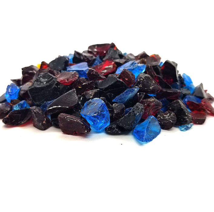 "10lbs ""Hawaiian Sunset"" Blue Red Black Blend 1/2"" - 3/4"" Large - Tempered Fire Glass"