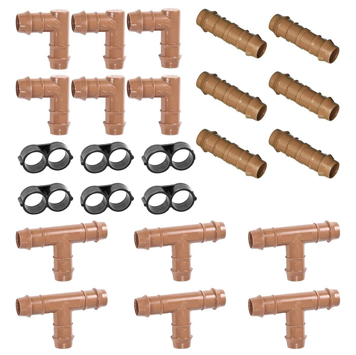 "(24 Piece) 1/2"" Barb Insert Drip Fittings Kit Tee, Coupling, Elbow & Ends (Brown) 17 mm .600 OD"