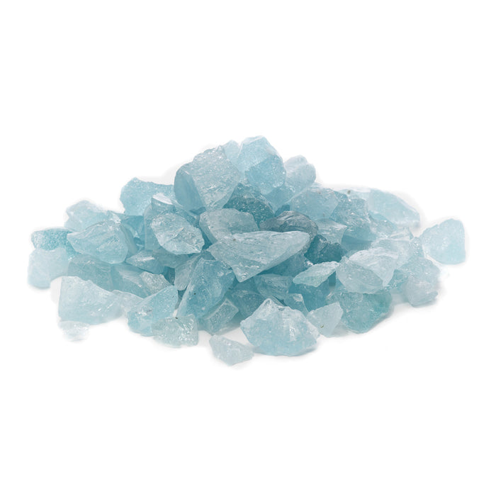 "10lbs ""Glacier Ice Aqua"" 1/2"" - 3/4"" Large - Tempered Fire Glass for Fireplace & Fire Pit"