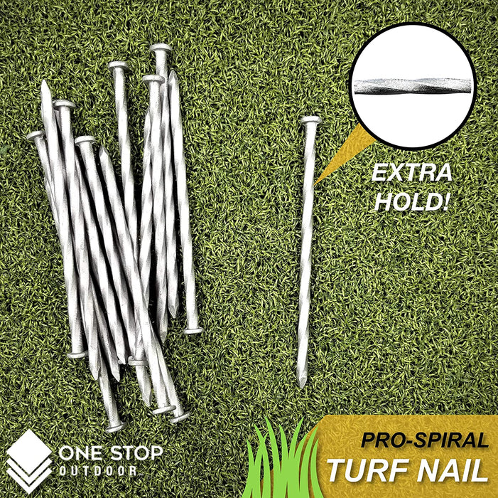 (70-Pack) Premium Spiral Galvanized Landscape Stakes Turf Nails, Edging, Timber & More
