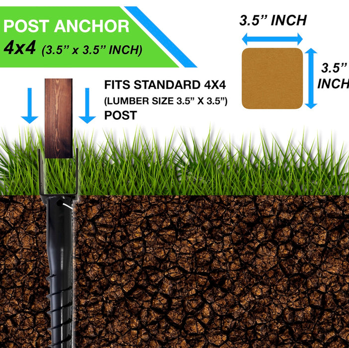 "Ground Anchor U-Model Screw Post Stake - Fits Standard 4x4 (3.5"" X 3.5"" Inch) Secure Mailbox Posts"
