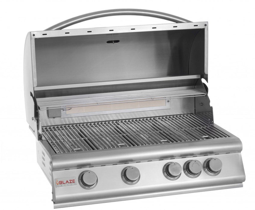 Blaze 32 Inch 4-Burner Grill With Rear Burner, Traditional Series Stainless Steel Gas BBQ BLZ-4