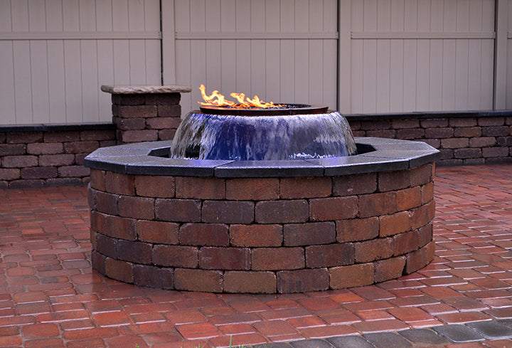 HPC Hearth Evolution 360 - Copper Fire & Water Insert Fire Pit & Waterfall Bowl & Electronic Ignition