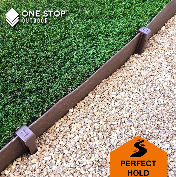 "Garden Master 20' Feet x 5"" Inch - Premium Brown Scallop Landscape & Garden Border Edging Kit - Terrace Board Yard Edging"