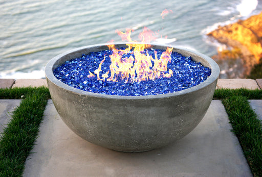 "Moderno 2 - 29"" Premium Textured Round Cement Fire Pit Bowl (Pewter)"