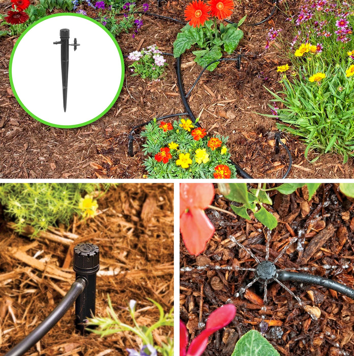 6 Plant Drip Irrigation Home Grow Kit - With Emitters Adjustable Manifold 0-20 GPH