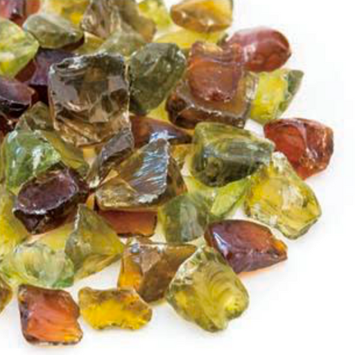 "VIVID Heat - Vibrant Luster ""Autumn Ember Green, Amber, Orange Blend"" 1/2"" - 3/4"" Large Rough Gem Size, (Price by the Pound) - Tempered Fire Glass Rock for Fireplace and Fire Pit"