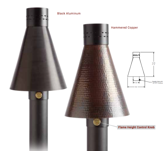 "HPC Hearth TK40MAN-C-NG Match Lit Fire Tiki Torch, Hammered Copper with 96""inch Post"