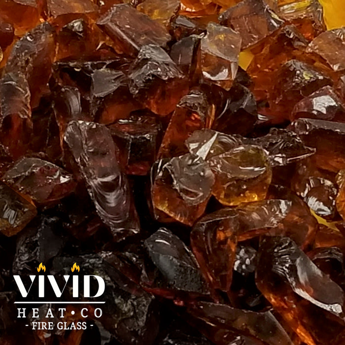 "VIVID Heat - Vibrant Luster ""Amber"" 1/2"" - 3/4"" Large Rough Gem Size, (Price by the Pound) - Tempered Fire Glass Rock for Fireplace and Fire Pit"
