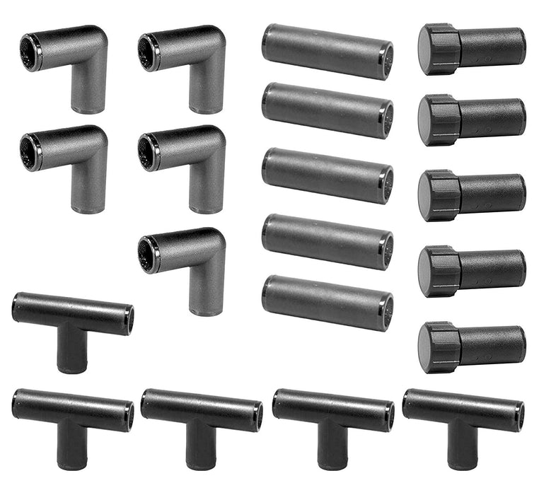 "(20 Piece) 1/2"" Barb Compression Drip Fittings Kit Tee, Coupling, Elbow & Ends (Black)"